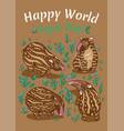 tapirs greeting card brown with light vector image vector image