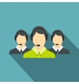 Three support phone operators icon flat style vector image vector image