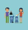 throwing garbage trash recycling cartoon vector image