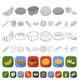 types of bread flat icons in set collection for vector image vector image