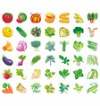 vegetables icons flat set with radish pumpkin vector image