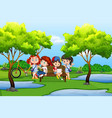 young kids in nature vector image