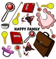 Hand drawn set with happy families vector image