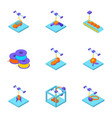 3d printer icons set isometric style vector image vector image
