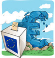 a ballot box on euro symbol background vector image vector image