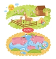 animals located on farm vector image vector image