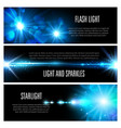 blue light effect banner set with star shine vector image