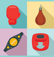 boxing icons set flat style vector image