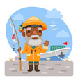 cartoon fisherman with fishing rod vector image vector image