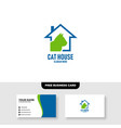 cat house logo free business card vector image vector image