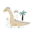 cute hand drawn dinosaur cartoon dino with palm vector image vector image