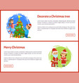 decorated christmas tree merry christmas web site vector image vector image