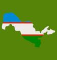 flag map of uzbekistan vector image vector image
