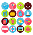 Flat Summer Icons Set vector image
