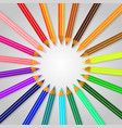 frame of colored pencils with shadow gray vector image vector image