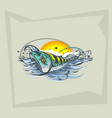 freehand drawing lures on water and a vector image