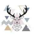 geometric muzzle deer scandinavian style color vector image vector image