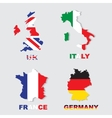 Germany Italy France UK colorful maps and flags vector image vector image
