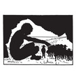 giant sitting in cave with sheep vintage vector image vector image
