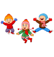 Group of children jumping together in wintertime vector image