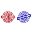 grunge russian cuisine textured round stamp seals vector image vector image