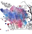 Halloween Monster House With Bat And Pumpkins vector image vector image