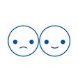 happy and sad emoji line icon concept happy and vector image vector image
