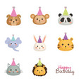 happy birthday card with set cute animals vector image