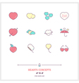 HEARTS CONCEPTS Line Icons Set vector image