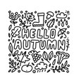hello autumn hand drawn lettering card vector image vector image