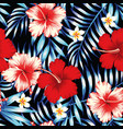 hibiscus red and palm leaves blue seamless vector image vector image