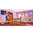 man and girl in quest escape room with crime scene vector image vector image