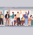 many people sitting and standing inside public vector image vector image