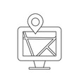 map on monitor line black icon vector image vector image