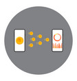 mobile money transfer concept the two devices vector image