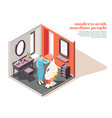 modern muslims isometric composition vector image