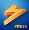 orange flash symbol on blue background vector image