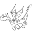 outlined flying dragon vector image vector image