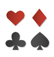 playing card sign symbols paper set of four vector image vector image