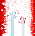 Red Triangles Background with Paper Cut Hands vector image vector image