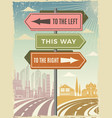 road direction boards modern street directional vector image vector image