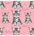 seamless pattern with many very cute small cats vector image vector image