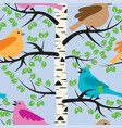 seamless repeating pattern with birds and birch vector image vector image