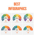 semicircle colorful templates for infographics vector image