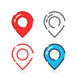 set colored linear map pins vector image vector image