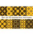 Set of 10 geometric patterns vector image vector image