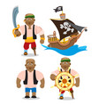 set of depicting an african man and a pirate ship vector image vector image