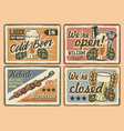 set vintage cafe signs vector image