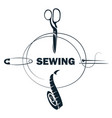sewing scissors and needle with thread symbol vector image vector image