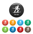 ski race icons set color vector image vector image